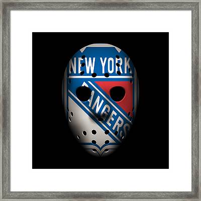 Rangers Goalie Mask Framed Print