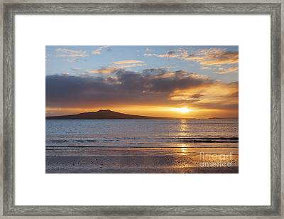 Rangitoto Sunrise Auckland New Zealand Framed Print
