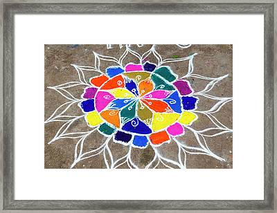 Rangoli Design Or Kollam Or Muggu Framed Print by Peter Adams