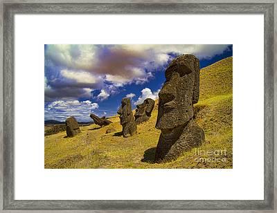 Rano Rarakui Moai Statues On Easter Island Framed Print