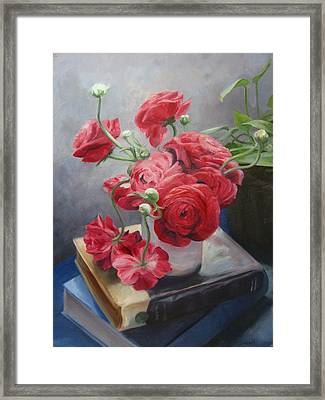 Ranunculus On Books Framed Print by Connie Schaertl