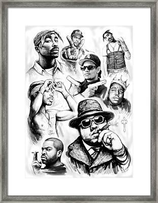 Rap Group Drawing Art Sketch Poster Framed Print by Kim Wang