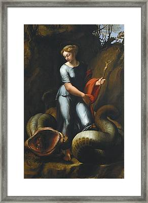 Raphael 1483-1520. Saint Margaret Framed Print by Everett