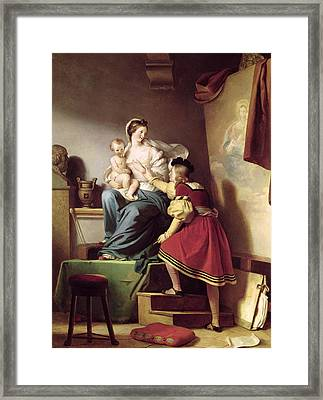Raphael Adjusting His Model's Pose For His Painting Of The Virgin And Child  Framed Print by Alexandre Evariste Fragonard