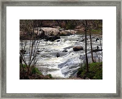 Rapid Waters At Hurricane Shoals Framed Print by Eva Thomas