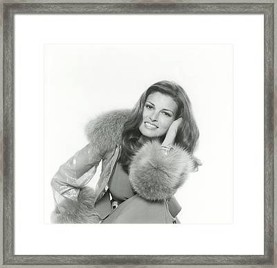 Raquel Welch Wearing A Chiffon By Valentino Framed Print