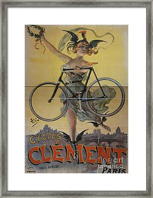 Rare Vintage Paris Cycle Poster Framed Print by Edward Fielding
