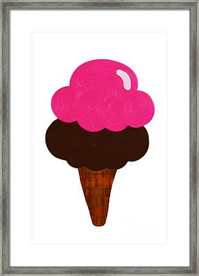 Raspberry And Chocolate Ice Cream Cone  Framed Print by Andee Design