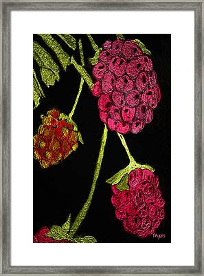 Framed Print featuring the painting Raspberry Fabric by Paula Ayers