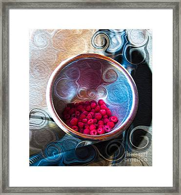 Raspberry Reflections Framed Print by Omaste Witkowski