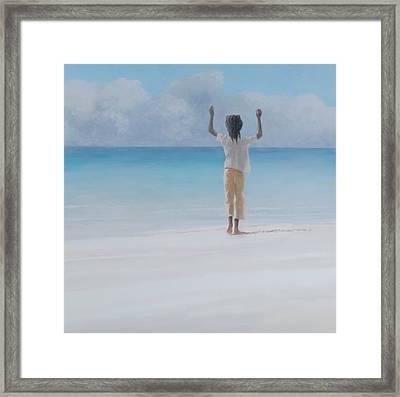 Rasta On Beach, 2012 Acrylic On Canvas Framed Print by Lincoln Seligman