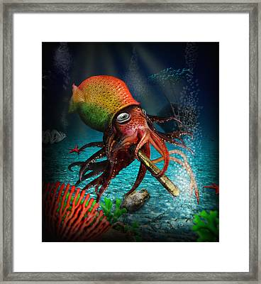 Rasta Squid Framed Print by Alessandro Della Pietra