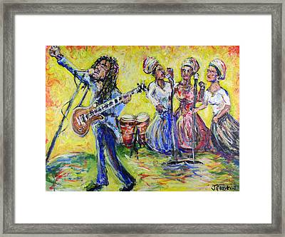 Rastaman Vibration - Bob Marley And The I-threes Framed Print by Jason Gluskin