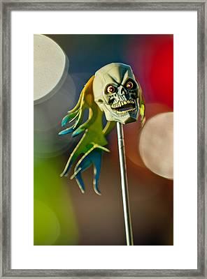 Rat Rod Antenna Skull  Framed Print by Jill Reger