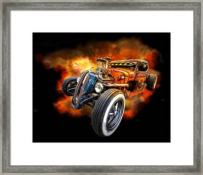 Rat Rod Explosion Framed Print by Gill Billington