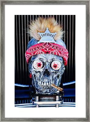 Rat Rod Skull Hood Ornament 2 Framed Print by Jill Reger