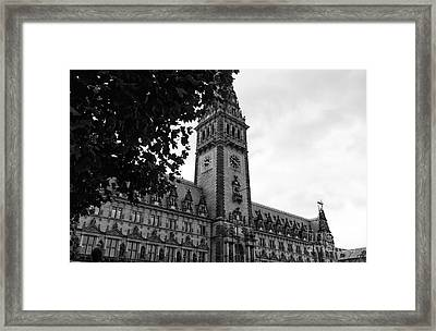 Rathaus Angles In Hamburg Mono Framed Print