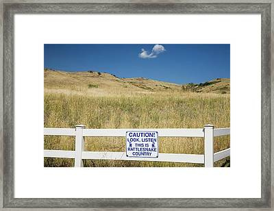 Rattlesnake Warning Sign Framed Print by Jim West