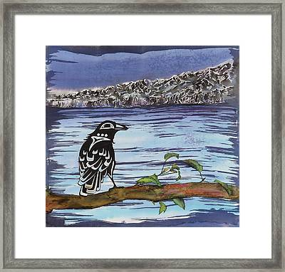 Raven And Ice Framed Print