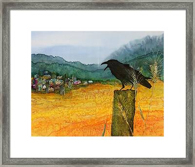 Raven And The Village 2 Framed Print by Carolyn Doe