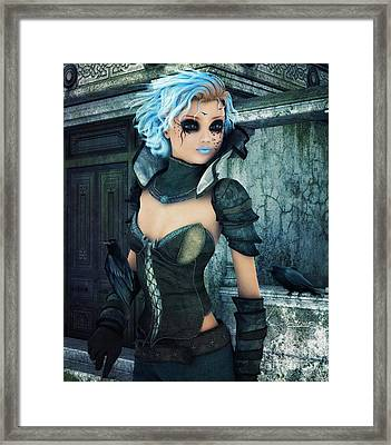 Raven Girl Framed Print by Jutta Maria Pusl