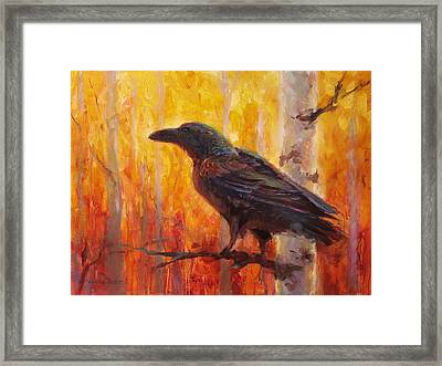 Raven Glow Autumn Forest Of Golden Leaves Framed Print by Karen Whitworth
