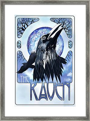 Raven Illustration Framed Print by Sassan Filsoof