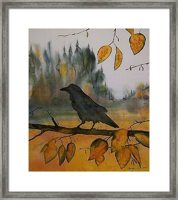 Raven In Orange Birch Framed Print by Carolyn Doe