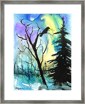 Raven Lights Framed Print by Betsy Bear