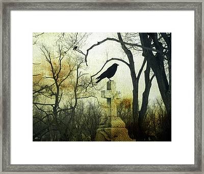 Raven On Cross Framed Print