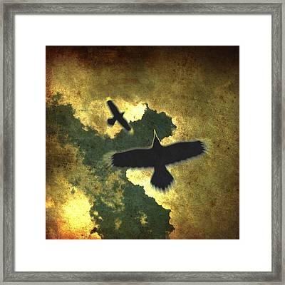 Raven Spiral Framed Print