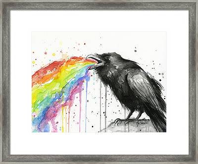 Raven Tastes The Rainbow Framed Print by Olga Shvartsur