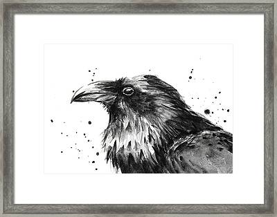 Raven Watercolor Portrait Framed Print