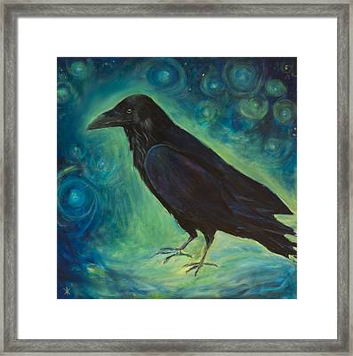 Space Raven Framed Print by Yulia Kazansky
