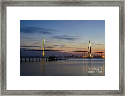 Ravenel Bridge Nightfall Framed Print by Dale Powell