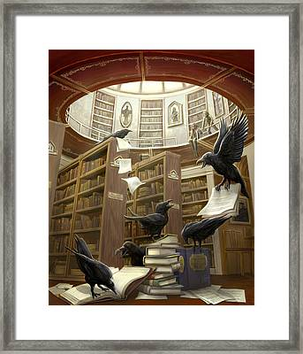 Ravens In The Library Framed Print by Rob Carlos