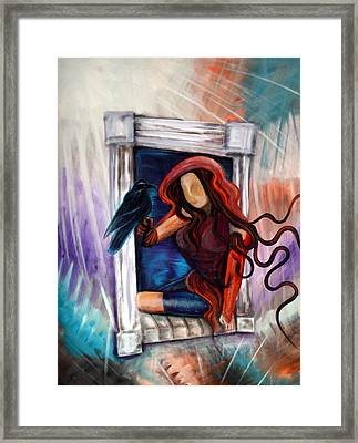 Raven's Wish Framed Print by Laura Barbosa