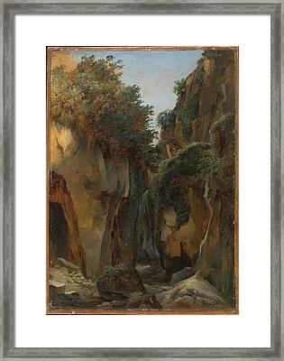Ravine At Sorrento Framed Print by �douard Bertin