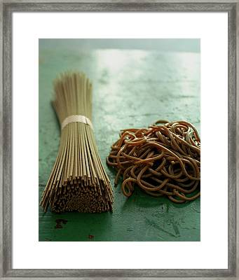 Raw And Cooked Pasta Framed Print by Romulo Yanes