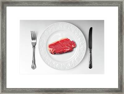 Raw Meat On White Plate Framed Print