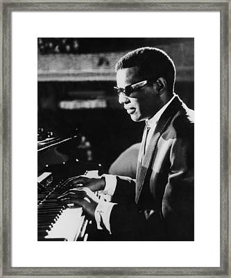 Ray Charles At The Piano Framed Print by Underwood Archives