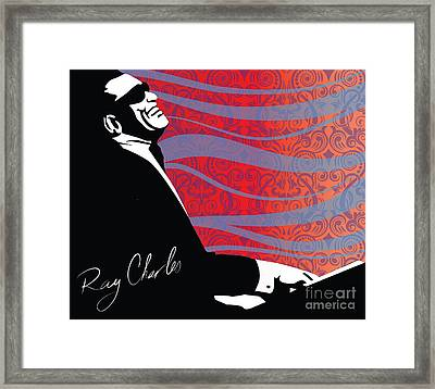 Ray Charles Jazz Digital Illustration Print Poster  Framed Print