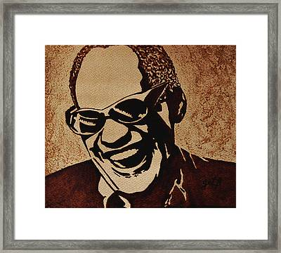 Ray Charles Original Coffee Painting Framed Print by Georgeta  Blanaru