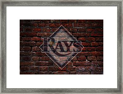 Rays Baseball Graffiti On Brick  Framed Print by Movie Poster Prints