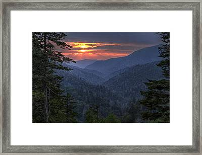 Rays Breaking Thru Framed Print