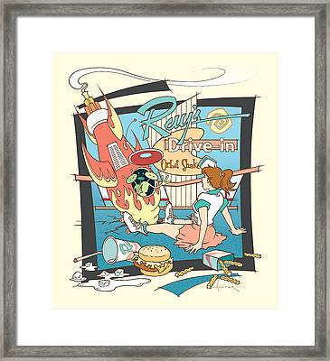 Ray's Drive-in - Brunette Framed Print