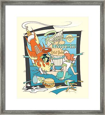Ray's Drive-in - Redhead Framed Print