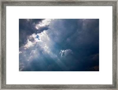 Rays Of Sunshine Through Dark Clouds Framed Print by Natalie Kinnear