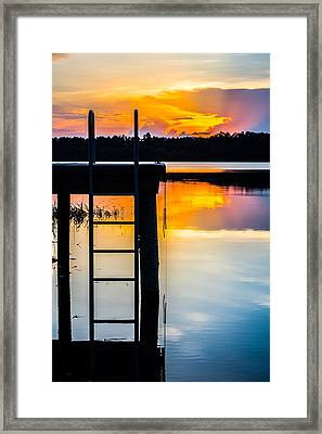 Rays Of  Sun By The Dock Framed Print by Parker Cunningham