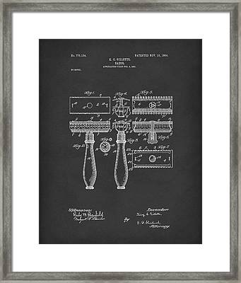 Razor 1904 Patent Art Black Framed Print
